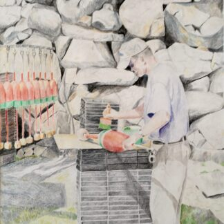 "Paintings by Leslie Heffron, ""Mike Wayrynen, Pigeon Cove Lobsterman"""
