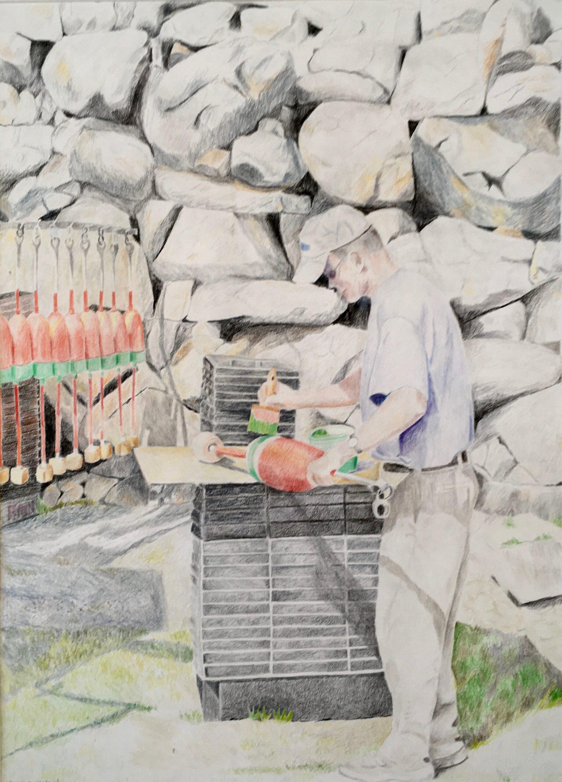 """Paintings by Leslie Heffron, """"Mike Wayrynen, Pigeon Cove Lobsterman"""""""