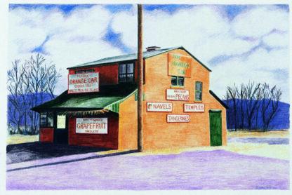 """Drawings by Leslie Heffron, """"The Orange Car"""""""